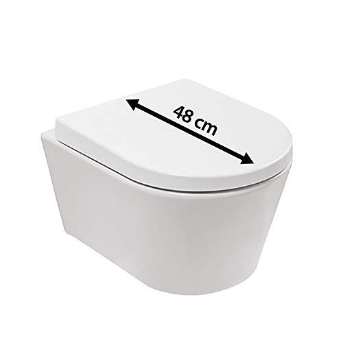 Calmwaters® Honest Small Komplettset mit WC-Sitz, hängendes Raumspar-WC mit kurzer Ausladung als Tiefspüler, D-Form, Sanitärkeramik in Weiß, WC-Sitz aus Duroplast mit Absenkautomatik, 08BC2388