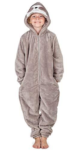 CityComfort Kinder Jumpsuits Kostüm Tier Onesie, Super Kuscheliger Schlafanzug Mädchen Kigurumi Pyjamas Jungen Schlafoverall Einhorn Katze Löwe AFFE Faultier (7/8 Jahre, Faultier)