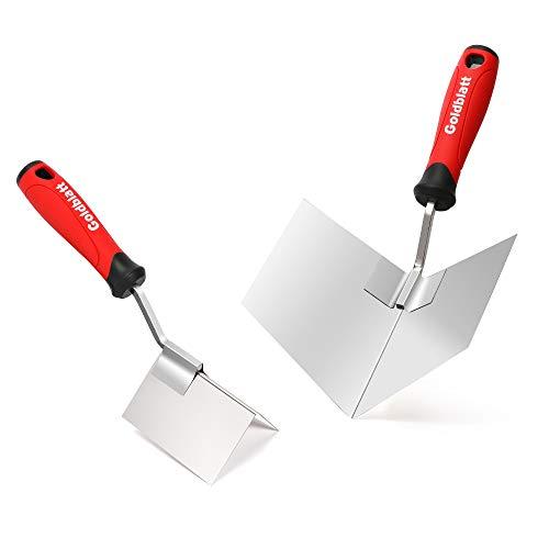 Goldblatt Drywall Corner Tool Set, 2-piece Inside & Outside Corner Knife, with Soft Grip