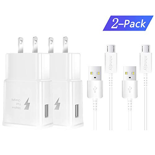 Adaptive Fast Charger, for Samsung Galaxy S7 S7 Edge S6 S6 Edge LG G2 G3 G4 [2 fast chargers + 2 micro cables] Fast Charger for Samsung Galaxy S7.