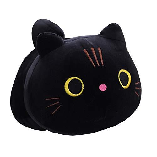 Whlo4U 12.5 Black Cat Plush Pillow, Kawaii Cat Plush Stuffed Animal, Kitty Plush Doll Anime Plush Pillow Home Decor Birthday Xmas Valentine