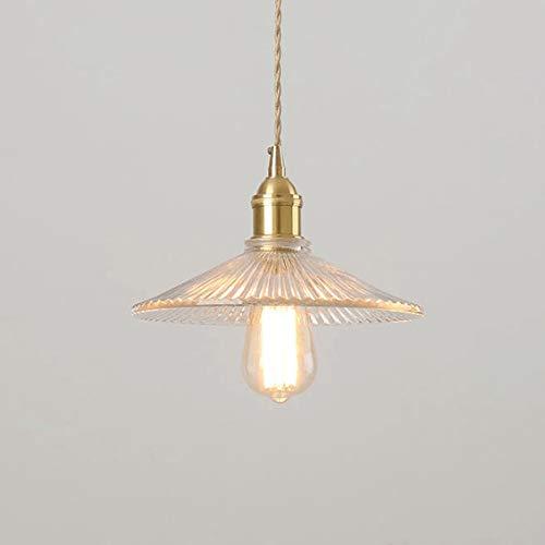 Colgante industrial rústico Ajuste de la luz E27 Acabado de latón Colgante de iluminación con lámpara de vidrio transparente Lámparas de techo de alambre flexible trenzado retro [Energía A +]