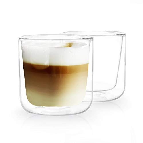 HEYNNA® Cappuccino Tassen 2 x 250ml doppelwandige Kaffeegläser aus Borosilikatglas/Cappuccino Gläser spülmaschinenfest