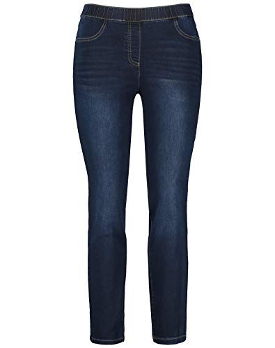 Samoon Damen Jeggings Stretch-Jeans Lucy Slim Fit Blue Denim 54