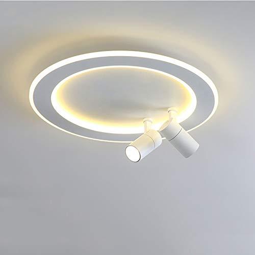 Foco De Techo LED Redondo Moderno, Lámpara De Techo Acrílica Nórdica con 2 Focos Orientables para Iluminación De La Cocina De La Sala De Estar del Dormitorio,White 48cm,3 Colors Dimmable