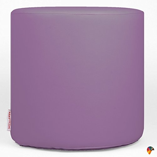 Arketicom Chill Pouf Ottoman Rond Repose Pied Tabouret Siege, Meubles Interieur Exterieur Design Made in Italy Puff Simili Cuir Tissu Fermeture Eclair, Nettoyage Facile Violet Fonce 42x42x42 cm
