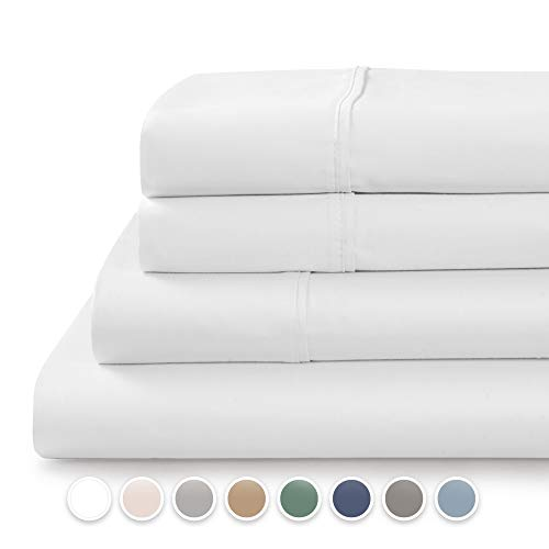 TRANQUIL NIGHTS  600 Thread Count 100% Cotton Bed Sheet Set 4Piece White Queen Size Sheets Soft amp Silky Sateen Weave Luxury Bedding Deep Pocket Sheets to Fit Upto 17quot Mattress