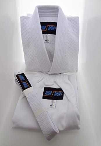 mmasport BJJ Kimono Jiu Jitsu 100% Cotone 390 gr Colore Bianco Kimono BJJ Basic (A1 (150-160 cm))