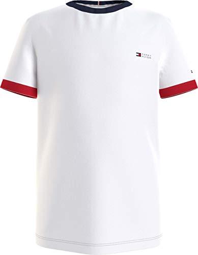 Tommy Hilfiger Jungen Ringer Tee S/S Hemd, White, 7