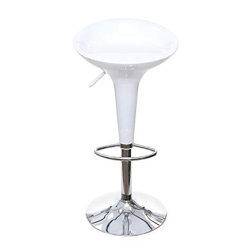 KASANOVA Sgabello da Bar Girevole - Regolabile in Altezza e con Seduta Ergonomica - In ABS con Base in Metallo e Poggiapiedi - Sedia per la Cucina - Colore Bianco
