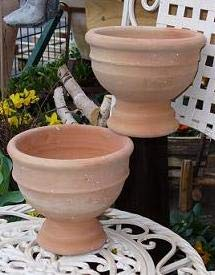 2er Set - rustikaler Blumentopf echt Terrakotta 20 cm, Blumenkübel für Garten und Wohnung Terracotta ........... kein Kunststoff, Blumen
