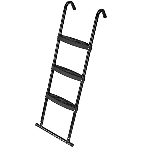 Gardenature Trampoline Ladder-3 Steps Wide-Step Ladder-Black