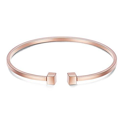 Sweetiee Bracciale Design Semplice da Donna 18 K Oro Rosa Placcato con Cubetto, 175 mm