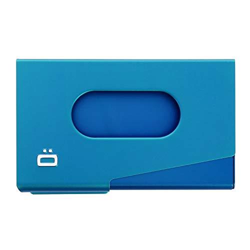 Ögon Smart Wallets - One Touch - Porte-Cartes de Visite en Aluminium - Capacité 15 Cartes de Visite (Bleu)