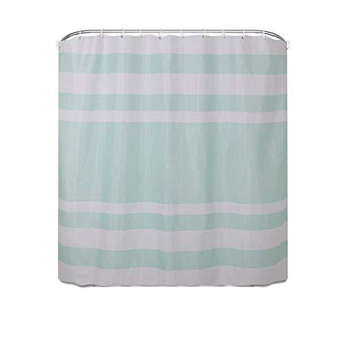 Shower Curtains Einfacher gestreifter Polyester Duschvorhang mit wasserdichtem Badezimmer Trennwand Duschvorhang (Color : Green)