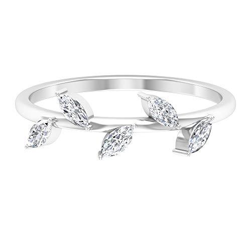 Anillo de diamante de talla marquesa de 4X2 mm, anillo de banda simple, diseño de hoja, anillo único de promesa, anillo de oro, 14K Oro blanco, Size:EU 57
