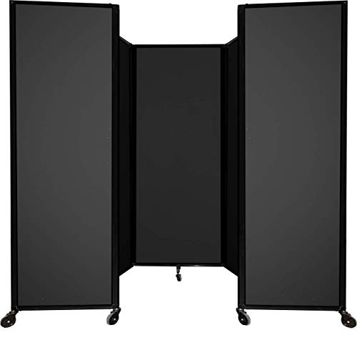 Room Divider 360 Accordion Portable Wall Partition with Wheels 8 6  x 4  Black Fabric