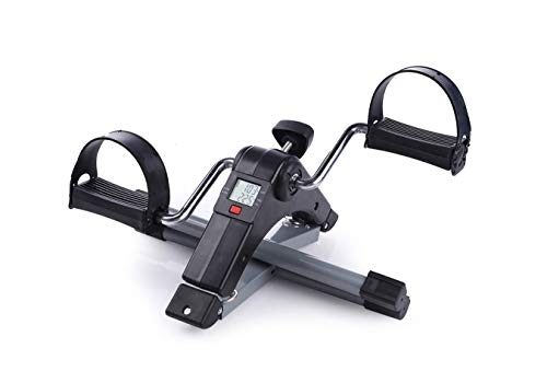Healthex Pedal Exerciser Cycle Bike for Home Gym LCD Counter Foldable Exercise Bike Indoor Fitness Resistance Home Use Mini Bike (Black/Silver)