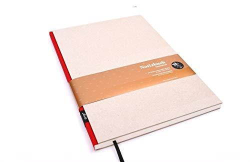 Notizbuch A4 hardcover | Öko-Rot | Skizzenbuch A5 blanko | Journal A5 | nachhaltige Notizbücher | Öko-look Natur-Design