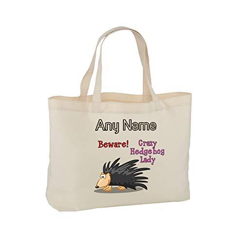 UNIGIFT - Borsa da Donna con Scritta in Lingua Inglese Crazy Hedgehog, con Scritta in Lingua Inglese Animal Slogan White Naturale