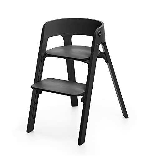 Stokke Steps Chair, Black - 5-in-1 Seat System - Can Transform Into Newborn + Toddler High Chair - Use Throughout Childhood or Up to 187 lbs. - Tool Free, Stylish & Adjustable