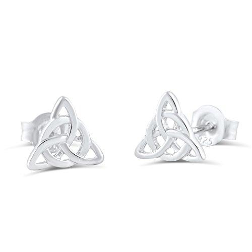 Sterling Silver Celtic Triquetra Stud Earrings - 0.27in