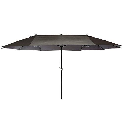 Nexos GM35136 Doppelsonnenschirm Sonnenschirm XXL mit Kurbel Anthrazit 4,50m Polyester Stahl Terrasse Garten Pool Oval-Schirm Marktschirm