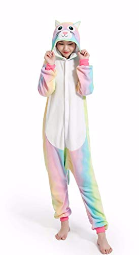 Licorne Adulte Flanelle Pyjama Combinaison Animaux Unicorn,Chat Arc en Ciel,S fit for Height...