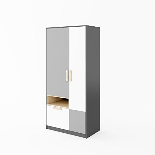 Furniture24 Kleiderschrank POK P02, Schrank, 2 Türiger Drehtürenschrank mit Schublade, Kleiderstange und 1 Einlegeboden