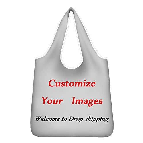 Showudesigns Personalizar bolsas de comestibles para mujeres, hombres, niños, niñas, bolsa de compras plegable para el hogar, cocina, playa, viajes, personalizable, nombre de tu imagen