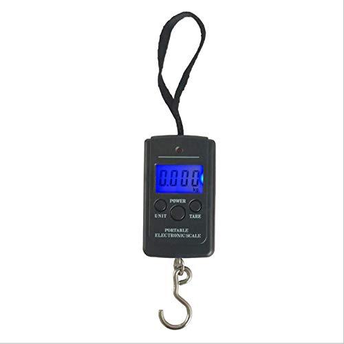 Tragbare Fischwaage Gepäckgewichtswaage mit hintergrundbeleuchtetem LCD-Display 40 kg Elektronische Waage Angeln Posthängerwaage (schwarz)