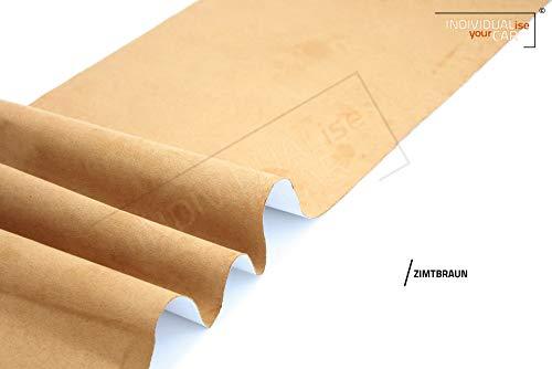 IndividualiseYourCar Mikrofaserstoff selbstklebend - ähnlich Alcantara, Wildleder Optik, Kunstleder - Stretch Folie Stoff (100cm x 146cm (29,79€/m²), Zimtbraun)
