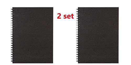 Muji - Cuaderno de papel reciclado con doble anilla, tamaño A5, 80 páginas, color gris oscuro