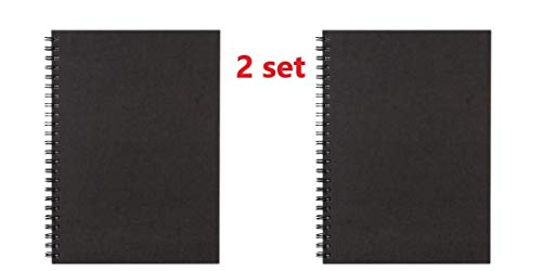 Muji [2 Set Recyclingpapier Doppelring-Notizbuch A5 dunkelgrau 80 Seiten aus Japan