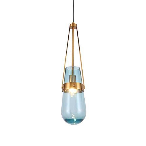 FCHMY Gotas de Agua Pantalla Lámpara Colgante Decoración Creativa Lámpara/Lámpara de Techo Moderna de latón Lámpara nórdica de 1 luz para Cocina Dormitorio, Ajustable E27 Colgante Azul Claro 15x