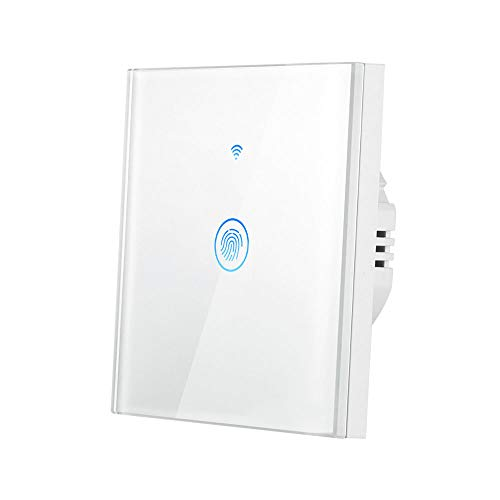 Interruptor WIFI 1 Gang, Konesky Interruptor de Pared Tactil,Smart Dimmer Switch con Control Remoto,Compatible con Amazon Alexa, Google Home,2200W (1 Gang)