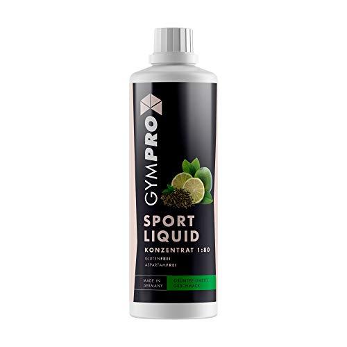 GymPro - Sport Liquid, Fitnessgetränk Konzentrat (1000ml) Lower Carb Drink, Sirup Getränke Konzentrat in Flasche mit L-Carnitin, Magnesium und Vitaminen für Fitness und Sportdrinks (Grüntee Limette)