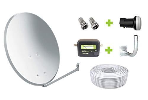 Kit Antena Parabólica GI 60 cm + LNB + Soporte + 20m Cable coaxial + Localizador