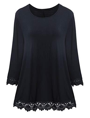 CARCOS Pullover Damen Shirt 3/4 Arm mit Spitze Casual Loose Sweater Lange Sweatshirt Oberteile Tunika Vorderer Saum,Schwarz,L