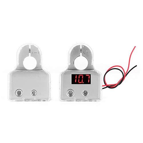 Morsetti per terminali batteria, 1 paio 0/4/8 AWG Connettori per terminali batteria positivi e negativi Morsetto per batteria con voltmetro per auto 12-24 V