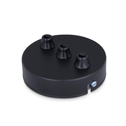 Deckenbaldachin Lampenbaldachin Metall 3-fach (mit 3 Auslässen) 100x24mm, schwarz - inkl. Zugentlastung aus Kunststoff