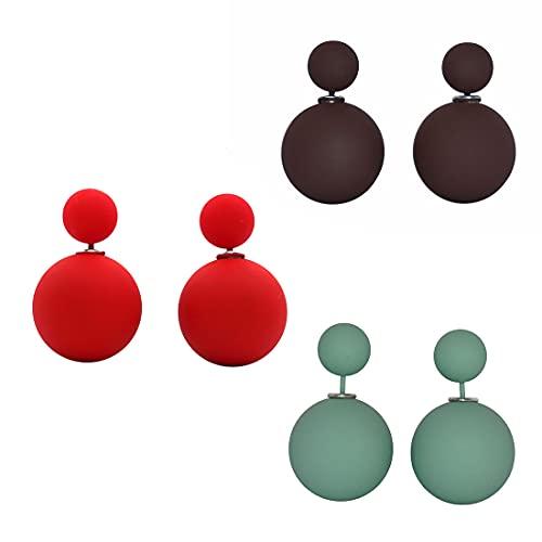 LeahMaria Pendientes de doble perla en la parte delantera y trasera, 2 unidades, mate, Perla artificial,