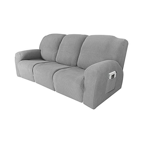 HUANXA Funda reclinable elástica 3 plazas, Jacquard Funda reclinable para de 8 Piezas Funda para sillón Funda de sofá Suave Antideslizante Protector de Muebles Lavable