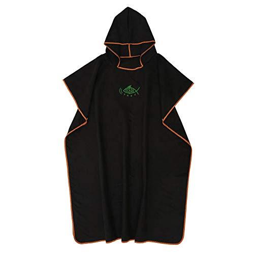 ATopoler - Toalla de microfibra para adulto (microfibra), diseño con capucha, ligero y de secado rápido para surf, natación, wakeboard o playa, unisex, color negro