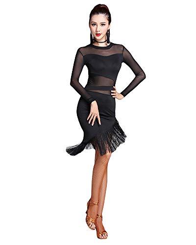 Jonact Mujer Vestido de Baile Latin Negro Malla Borla Asimetrico Manga Larga Vestido de salón de Baile para señoras Tango Chacha Rumba