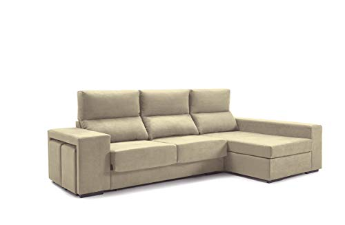 Home Heavenly- Sofá ChaiseLongue, Marte, 3 plazas, tapizado Color Beige, Tratamiento Antimanchas (Chaise Longue Derecho)