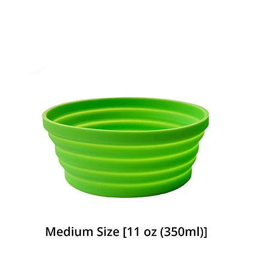 Ecoart Silicone Expandable Collapsible Bowl for Travel Camping Hiking (Green(S))