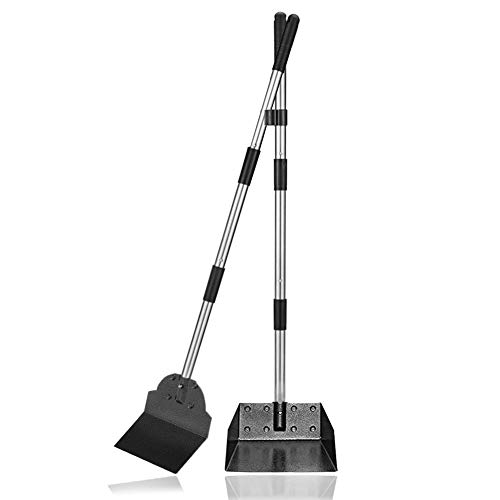 Dog Pooper Scooper,Tray and Spade Set, Adjustable Long Handle Metal Tray and Spade Poop Scoop with Bin for Pet Waste Removal, No Bending Clean Up for...