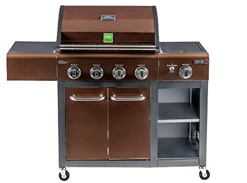 Enrico Coveri Barbecue a Gas Professionale Con 5 Fuochi Multifunzione Da 16 KW, Bruciatore Laterale e Coperchio, Perfetto Per Terrazzo, Balcone E Giardino (Dakota)