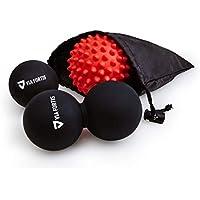 Bola de Masaje Miofascial y Muscular (Juego de 3) de VIA FORTIS   Conjunto de una Pelota Lacrosse Sencilla, de Una Doble y de Otra con Pinchos   Productos para la Espalda, los Hombros, los Pies y Más